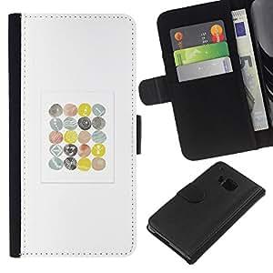 iBinBang / Flip Funda de Cuero Case Cover - Minimalista patrón Acuarela Pascua Blanca - HTC ONE M7