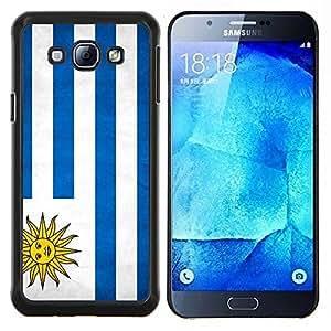 KLONGSHOP // Cubierta de piel con cierre a presión Shell trasero duro de goma Protección Caso - Nacional bandera de la nación País Uruguay - Samsung Galaxy A8 A8000 //