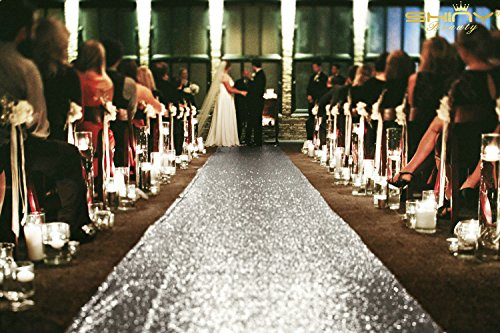 ShinyBeauty Sequin Aisle Outside Wedding Floor Runner-4FTx20FT-Silver, Carpet Aisle Runner fabric for wedding 48