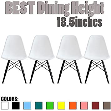 2xhome Set of Four 4 – Plastic Side Black Dark Wood Legs Eiffel Dining Room Chair – No Arm Arms Armless Less Chairs Seats Molded Plastic Dowel Base Metal, White