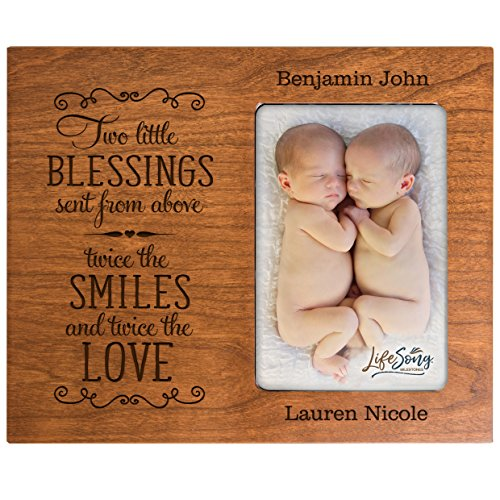 Personalized New baby gifts for twins picture frame for boys and girls Custom engraved photo frame for new parents nana,mimi and grandparents (Cherry) from LifeSong Milestones