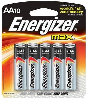 1.5 volt Alkaline Energizer Max AA Batteries Pack of Ten