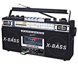 SuperSonic Retro Collection Boom Box with AM/FM/ SW-1 - SW2 4-Band Radio and Cassette to MP3 Converter, SC-3200 (Black)