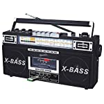 SuperSonic Retro Collection Boom Box with AM/FM/ SW-1 – SW2 4-Band Radio and Cassette to MP3 Converter, SC-3200 (Black)