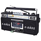 SuperSonic Retro 4 Band Radio and Cassette Player, Black