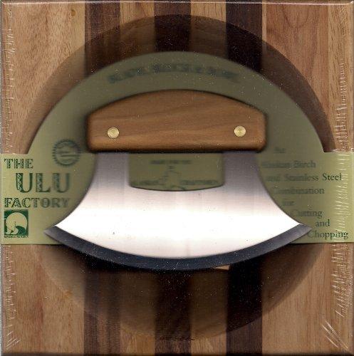 "8"" Block with Deep Dish Chopping Bowl and Alaskan Birch Handled Ulu"
