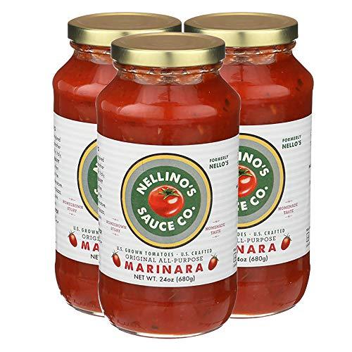 Nellino's Pasta Sauces - Low Acidic, Keto, No Sugar Added, Certified Gluten Free, Certified Vegan, True Premium Flavor (24 oz) (Marinara, 3 Pack) (Keto Friendly)