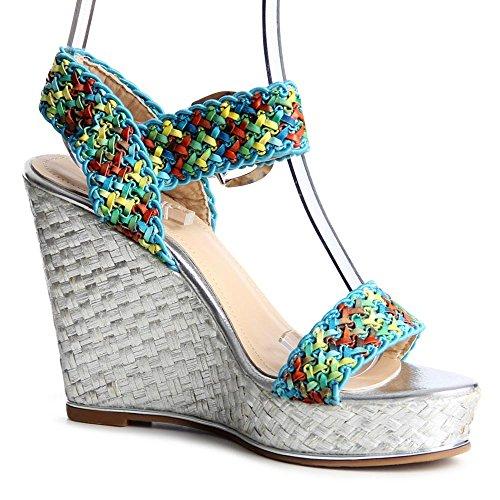 topschuhe24 - Zapatos de vestir de tela para mujer plateado