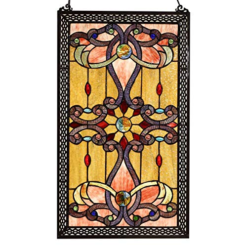 Bieye W10033 Victorian 27 inch Tiffany Style Stained Glass Window Panel with Chain, 27