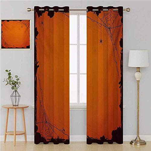 Benmo House Spider Web Grommet Curtain Sound Asleep Room curtainsGrunge Halloween Composition Scary Framework with Insects Abstract Cobwebshort Curtain 96 by 96 InchOrange Brown