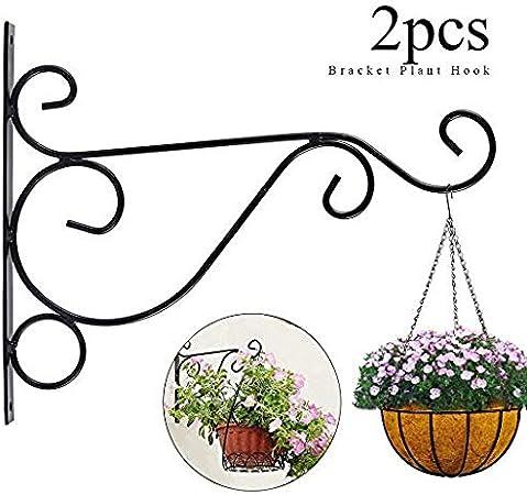 12//Black Lantern Wall Plant Hanger Wind Chime Swivel Plant Hook Hanging Plant Bracket Outdoor Bird Feeder for Flower Basket