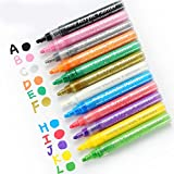 12-Piece Acrylic Pen Paint Set – Reversible 3- and 5-mm Point Acrylic Pen Makers for Glass, Wood, Fabric, and More – Permanent and Fade-Proof Acrylic Paint Markers Set by Symodo