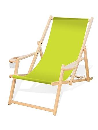 Liegestuhl Holz Mit Armlehne.Holz Liegestuhl Mit Armlehne Und Getränkehalter Klappbar Wechselbezug Lemon
