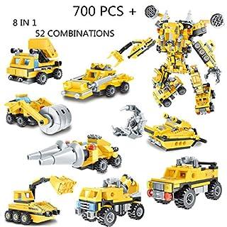 IROCH Engineering Vehicle Building Blocks FiguresSTEM Robot Bricks Toy Compatible Transform Building Bricks Activities (8 in 1 700PCS+)