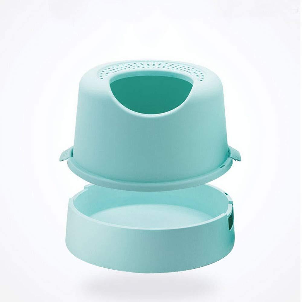 CattleBie トイレトイレ用猫用トイレボックス完全密閉型大容量スプラッシュプルーフ猫用トイレイージークリーントイレ脱臭トイレ付き (Color : 青) 青
