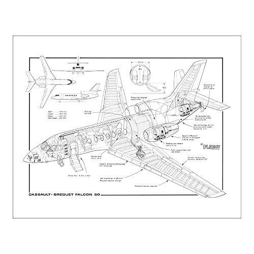 Media Storehouse 20x16 Print of Dassault Falcon 50 MC Cutaway Drawing (4507199)