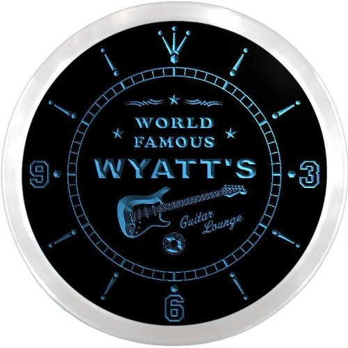 ncpf0932-b WYATT'S Famous Guitar Lounge Beer Pub LED Neon Sign Wall Clock