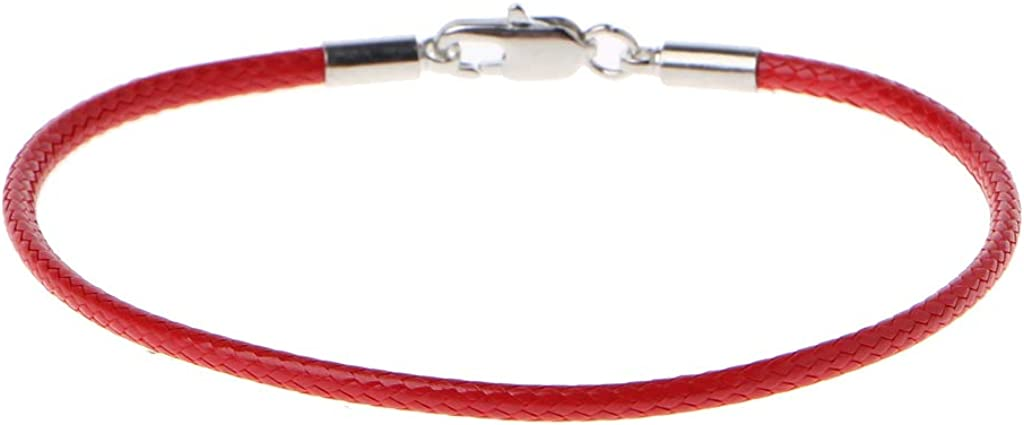 A0127 Bracelet femme Bracelet corde rouge Corde rouge de Kabala Cuir tress/é Boucle de homard Bracelet porte-bonheur Bijoux de bricolage
