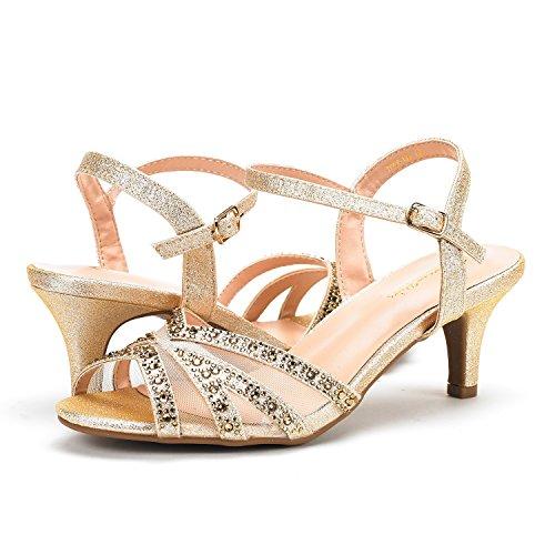 Picture of DREAM PAIRS Women's Nina-166 Gold Low Heel Pump Sandals - 9 M US