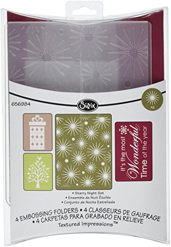 Sizzix Textured Impressions Embossing Folders 4PK - Starry Night Set by Rachael Bright
