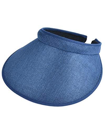 - Unisex Women Men Summer Sun Visors Cap Broad Wide Brim Topless Tennis Golf Headband Hat Headwear Darkblue One Size