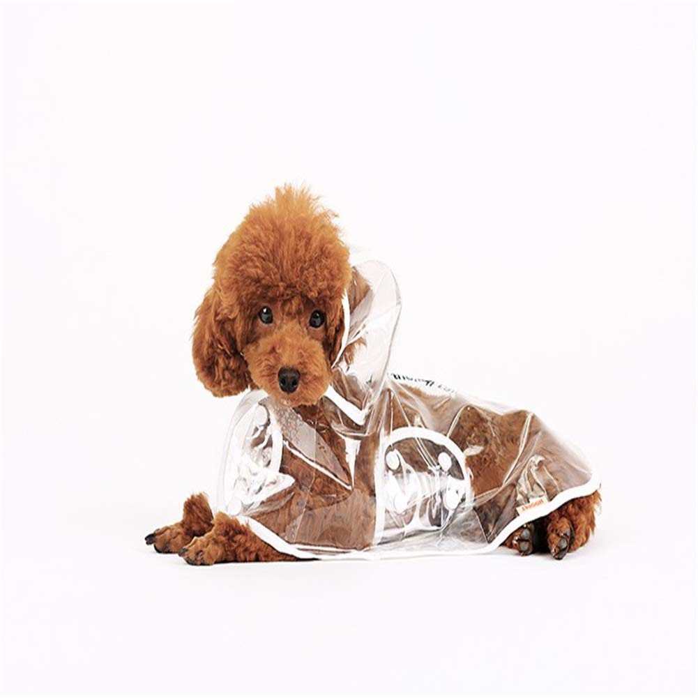 Ruikey Blanco Transparente Mascota Impermeables Chubasqueros Impermeables con Capucha para Perros Pequeños(M)