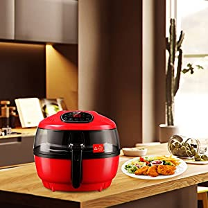 XL 7.4QT Red Air Fryer-KUPPET 8-in-1 Digital Oilless Hot Air Fryer with Basket-Timer Temperature Control-8 Cooking Presets-Included Recipe Guide, Anti-hot Clip, Stirring Parts-1700W