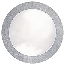 "Creative Converting Glitz Silver Round Placemats with 2"" Glitter Border, 8 Count"