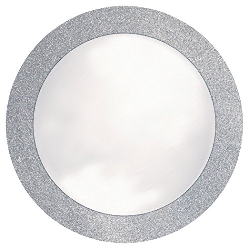 "Creative Converting Glitz Silver Round Paper Placemats with 2"" Glitter Border, 8 Count"