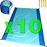 [Pack of 10] Sand Proof Beach Picnic Blanket of Parachute Nylon, works as Shade Tarp Sheet for your Sandless travel escape perfect for drying towel not a black microfiber waterproof or resistant mat