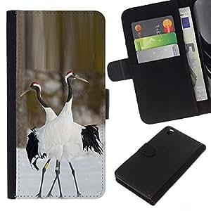 KingStore / Leather Etui en cuir / HTC DESIRE 816 / Hiver Nature Couple Valentines