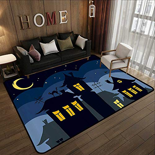 All Weather Floor mats,Halloween,Old Town with Cat on The Roof Night Sky Moon and Stars Houses Cartoon Art,Black Yellow Blue 78.7