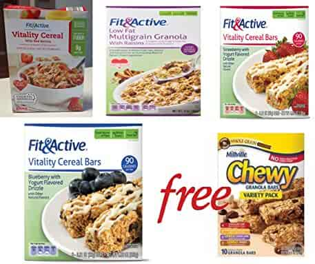 Breakfast Variety Combo Fit & Active Low-Carb for Weight Loss (4) FREE Millville Chewy Variety Pack (1 Box)