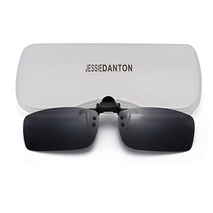 1b33d8816d0 JESSIEDANTON Polarized Clip-on Flip Up Metal Clip Rimless Sunglasses ...