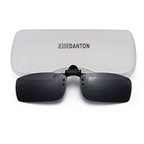 8f5d0dccbe JESSIEDANTON Polarized Clip-on Flip Up Metal Clip Rimless Sunglasses