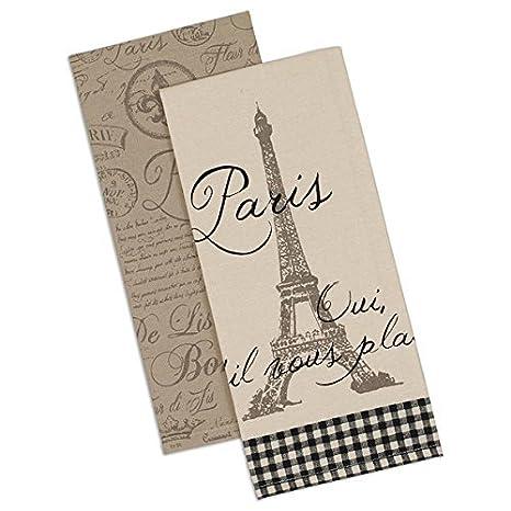 Dish Towels Set Of 2 Paris Eiffel Tower Fleur De Lis Postmark Design