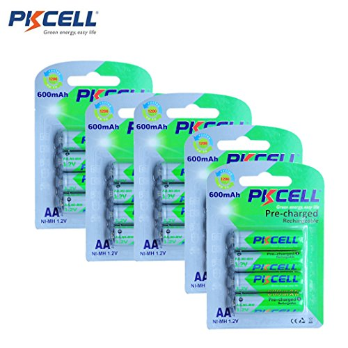 Pre-Charged 600mAh 1.2V AA NiMh Low Self Discharged Rechargeable Batteries for Solar Lights 20pcs