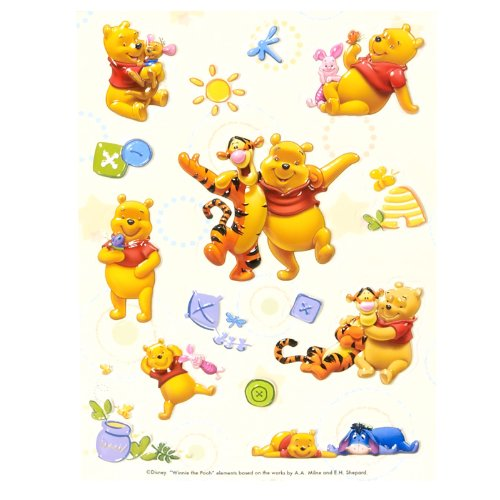Pooh Game Memory (Pooh Raised Sticker Sheet Party Accessory)