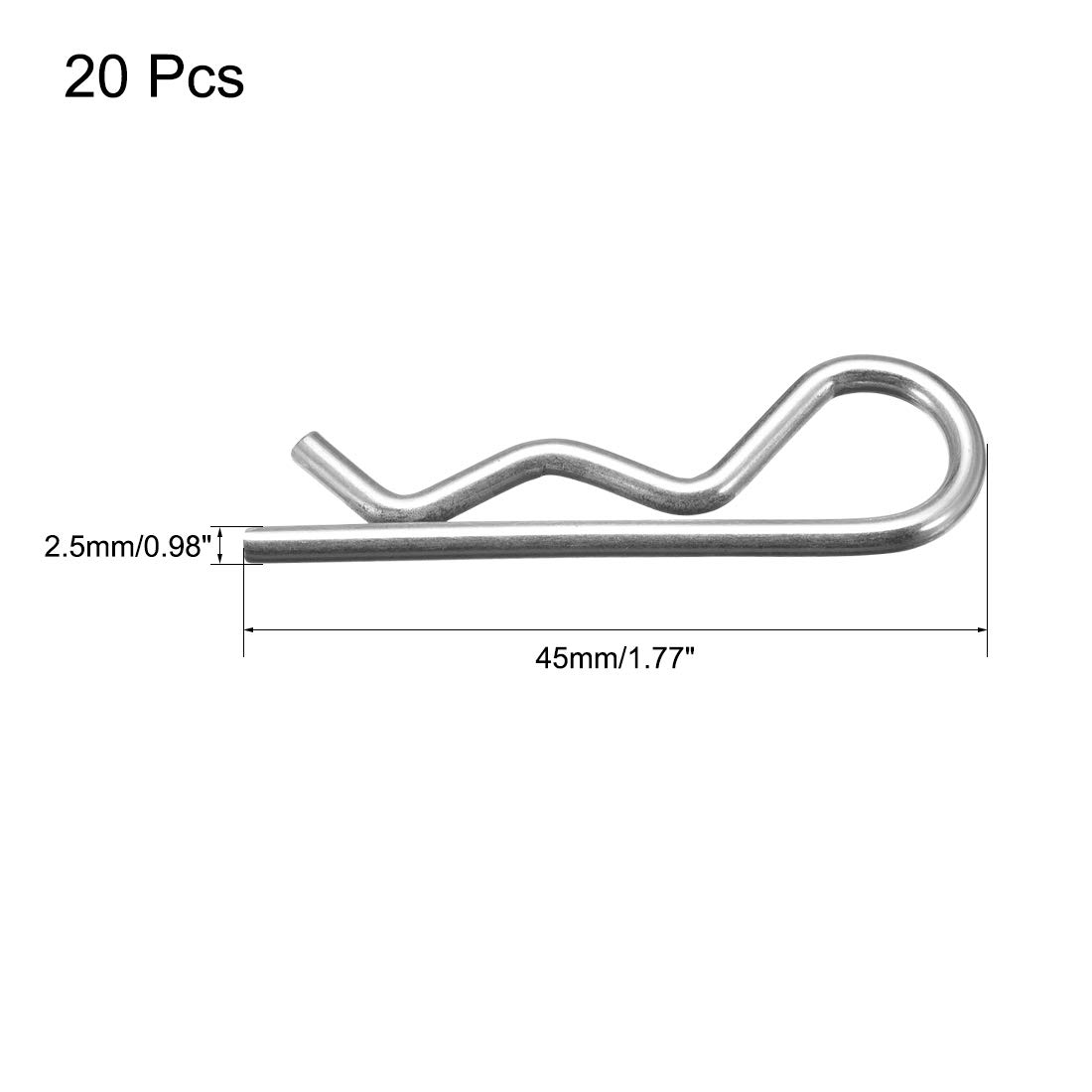 uxcell 3mm x 60mm Carbon Steel R Shaped Spring Cotter Clip Pin Fastener Hardware Silver Tone 50 Pcs