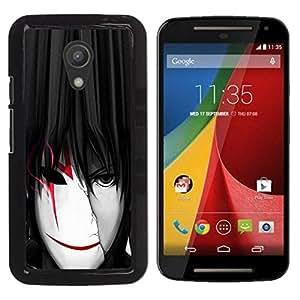 YiPhone /// Prima de resorte delgada de la cubierta del caso de Shell Armor - Cool Anime Boy Man Mask White Red - Motorola MOTO G 2ND GEN II