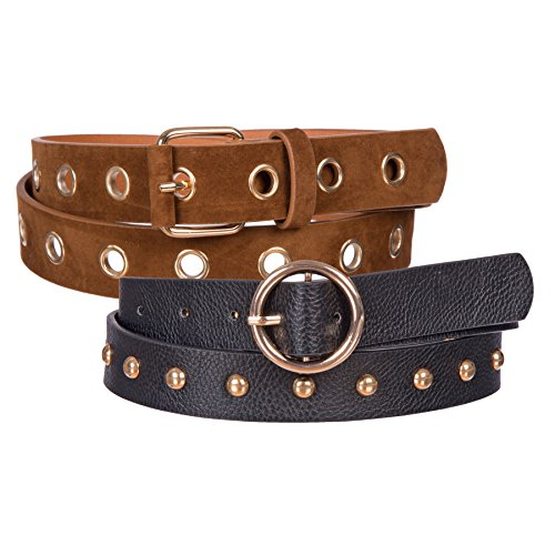 Gold Studded Belt - Sunny Belt Women's 2 Pack Fashion Faux Leather Grommet Hole/Studded Waist Belt (Tan/Black, XL)
