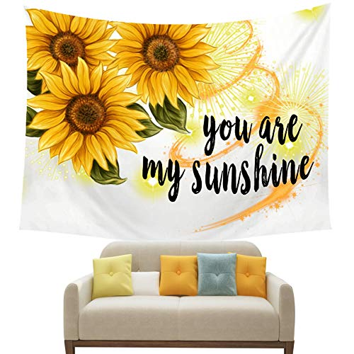 - NIDITW Summer Holiday Decor Sunshine Yellow Sunflower With Quote You Are My Sunshine White Tapestry Backdrop Wall Hanging Blanket for Bedroom Living Room Dorm 60 X 90 Inches