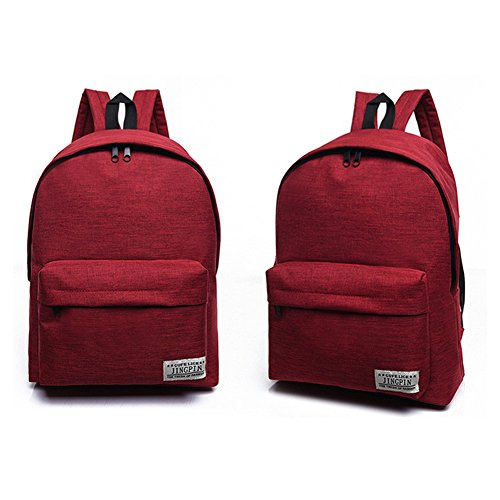 Tula Mini - Tulas Fashion Korean Women Backpack Canvas Solid Color Computer Bag Ladies Girls Big Capacity School Bags for Outdoor Travel (Red)