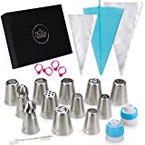 Elite Russian Piping Set by Chefast - Premium Kit of 12 Decorating Tips and Sphere Ball Nozzles, Single and Tricolor Couplers, Reusable Cake Pastry Bag, 10 Frosting Bags, 4 Icing Bag Ties & a Brush