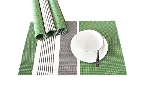 Lavin Placemat Set of 4 Heat-resistant Waterproof Place Mat for Dining Table Kitchen Decoration PVC Vinyl Satin Resistant Washable Heavy Duty Placemats (Green)