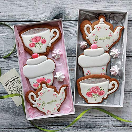 (2pcs Lovely Tea Cup and Tea Pot Shape Cookie Cutter DIY Biscuit Baking Tools HF)