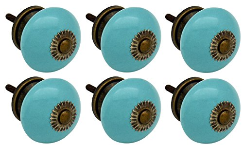 Nicola Spring Ceramic Cupboard Drawer Knobs - Turquoise - Pack Of 6 by Nicola Spring
