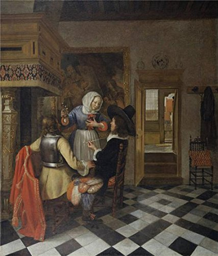 High Quality Polyster Canvas ,the Reproductions Art Decorative Canvas Prints Of Oil Painting 'Hendrik Van Der Burgh (attributed To) - Drinkers Before The Fireplace, C. 1660', 10x12 Inch / 25x30 Cm Is Best For Basement Decor And Home Artwork And Gifts by eyeselect