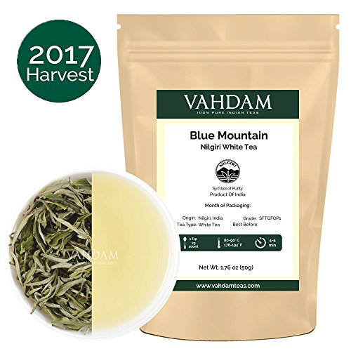 Exotic White Tea Leaves from the Blue Mountains - 100% Pure Limited Edition Nilgiri White Tea Loose Leaf, Sourced Direct from the Glendale Tea Estate in South India, POWERFUL ANTI-OXIDANTS (25 Cups)