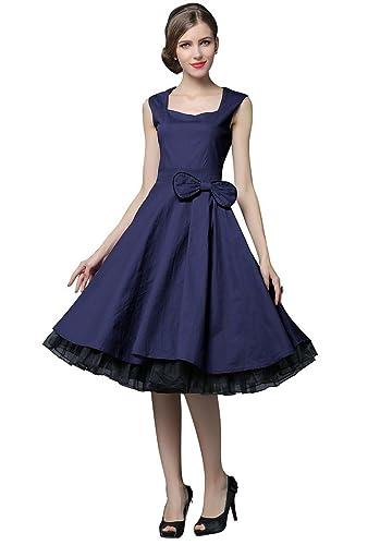 YACUN Vintage 1950 di stile senza maniche con stampa floreale delle donne Rockabilly partito swing V...